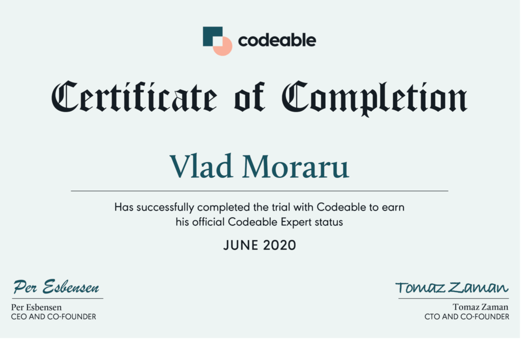 vlad certificate codeable